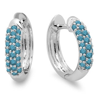 18k White Gold 1/3ct TDW Round Blue Diamond Hoop Earrings (I2-I3)