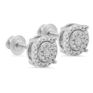 Elora 10k White Gold 3/8ct TDW Round Diamond Circle Halo Stud Earrings (I-J, I2-I3)