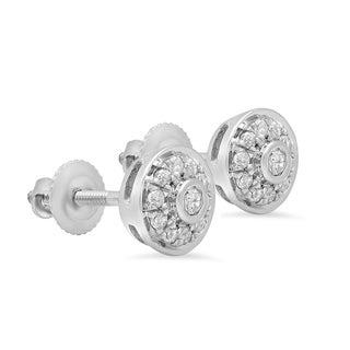 Elora 10k White Gold 3/8ct TDW Round Diamond Circle Halo Earrings (I-J, I2-I3)