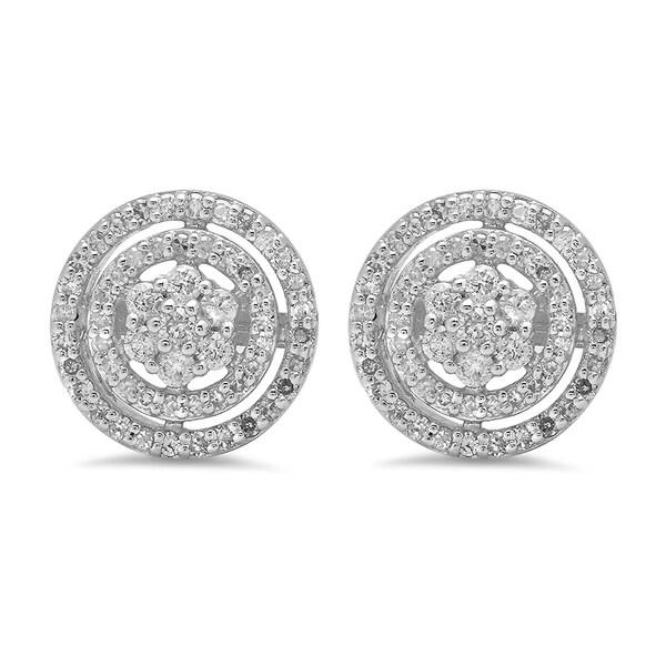 10K-White-Gold-0.60-ct-TDW-White-Diamond-Ladies-Cluster-Flower-Stud ...