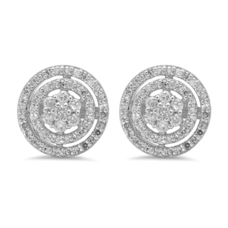 10k White Gold 5/8ct TDW Diamond Cluster Flower Stud Earrings (I-J, I1-I2)