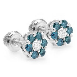 10k White Gold 2/5ct TDW Blue Diamond Flower Stud Earrings