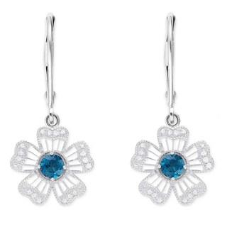 Dolce Giavonna Sterling Silver London Blue Topaz Diamond Accent Flower Dangle Earrings