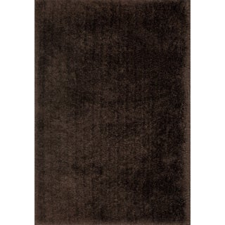 "Hand-Tufted Solid Chocolate Mid-century Shag Rug - 9'3"" x 13'"