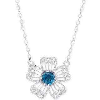 Dolce Giavonna Sterling Silver London Blue Topaz and Diamond Accent Flower Necklace