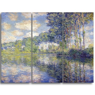 Design Art 'Claude Monet - Poplars on the Epte' Canvas Art Print - 36Wx32H Inches - 3 Panels