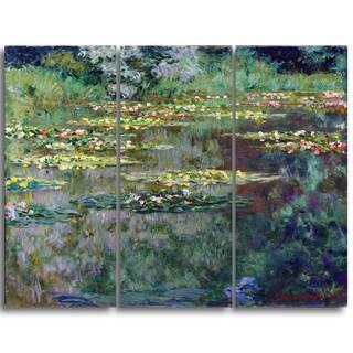 Design Art 'Claude Monet - Le Bassin des Nympheas' Canvas Art Print - 36Wx32H Inches - 3 Panels