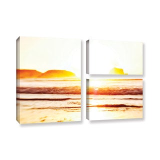 ArtWall Elena Ray 'Sunset On The Sea' 3 Piece Gallery-wrapped Canvas Flag Set