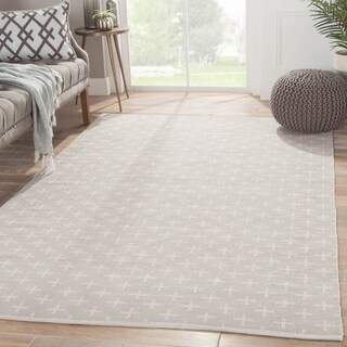 Petit Collage Flatweave Tribal Pattern Neutral Cotton Area Rug (8x11)