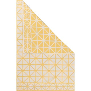 Petit Collage Flatweave Tribal Pattern Yellow/Ivory Cotton Area Rug (2x3)