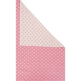 Petit Collage Flatweave Tribal Pattern Pink/Ivory Cotton Area Rug (2x3)