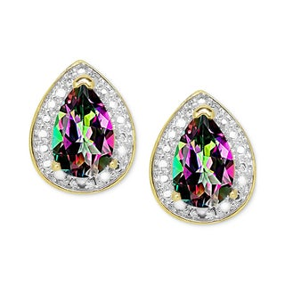 Dolce Giavonna Gold over Sterling Silver Mystic Topaz and Diamond Accent Tear Shaped Stud Earrings