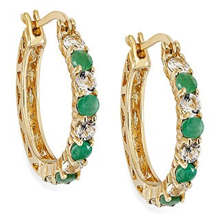 Dolce Giavonna Gold Over Sterling Silver Gemstone Hoop Earrings (3 options available)
