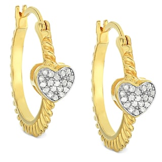 Finesque Gold Over Sterling Silver 1/4 Ct TDW Diamond Heart Hoop Earrings
