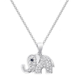 Finesque Sterling Silver Black Diamond Accent Elephant Necklace