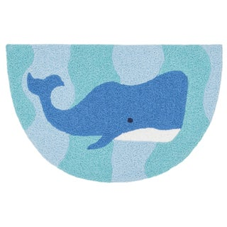 Hand-hooked Marcy Ocean/ Blue Whale Hearth Rug (1'9 x 2'9)