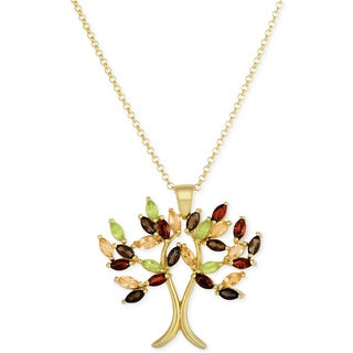Dolce Giavonna Gold Over Sterling Silver Multi Gemstone Tree Design Necklace