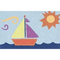 Hand-hooked Marcy Light Blue/ Orange Sail Boat Rug - 1'9 x 2'9