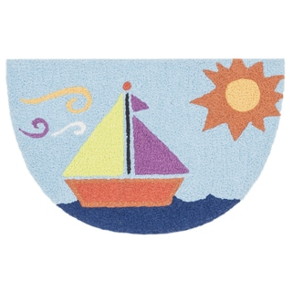 Hand-hooked Marcy Light Blue/ Orange Sail Boat Hearth Rug (1'9 x 2'9)