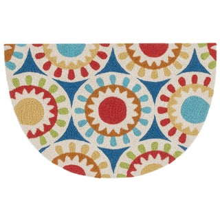 Hand-hooked Marcy Blue/ Multi Medallion Hearth Rug (1'9 x 2'9)