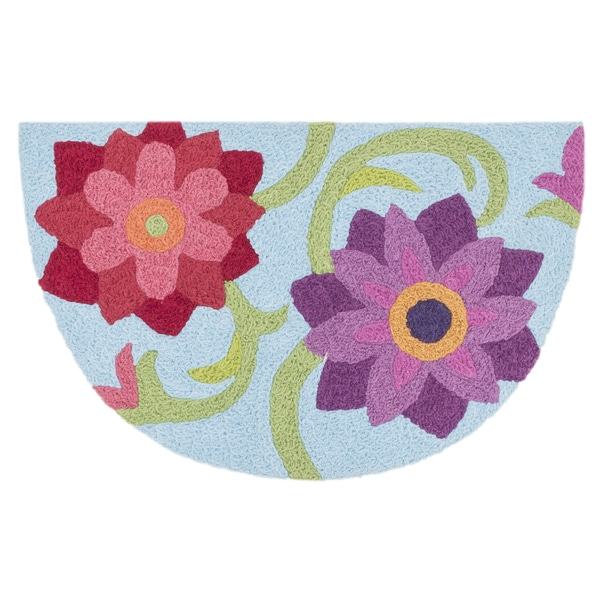 Hand-hooked Marcy Light Blue/ Berry Flower Hearth Rug (1'9 x 2'9)