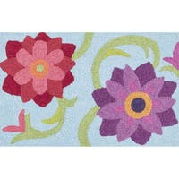 Hand-hooked Marcy Light Blue/ Berry Flower Rug (1'9 x 2'9) - 1'9 x 2'9