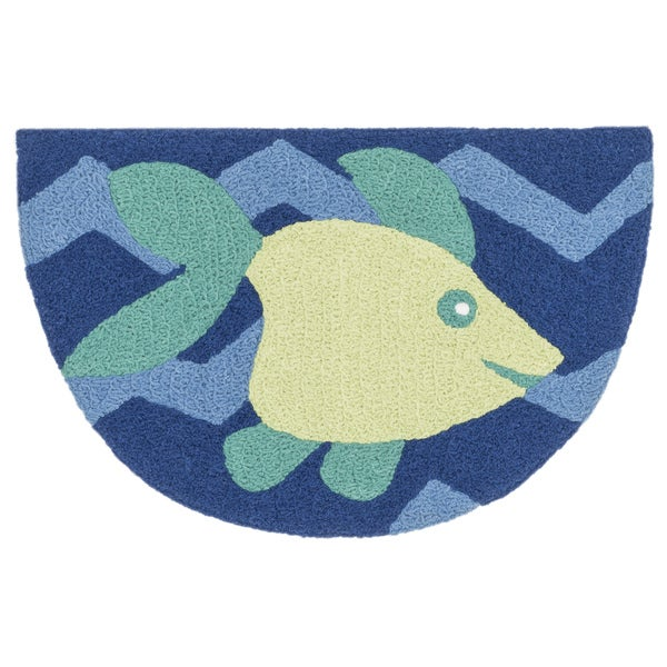 Hand-hooked Marcy Blue/ Yellow Fish Hearth Rug (1'9 x 2'9)