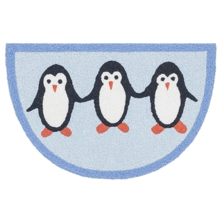 Hand-hooked Marcy Blue/ Sky Penguine Hearth Rug (1'9 x 2'9)