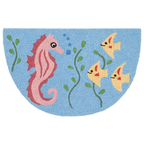 Hand-hooked Marcy Light Blue/ Multi Seahorse Hearth Rug - 1'9 x 2'9