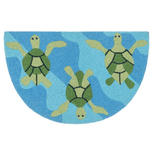 Shop Hand-hooked Marcy Ocean/ Green Turtle Hearth Rug (1'9