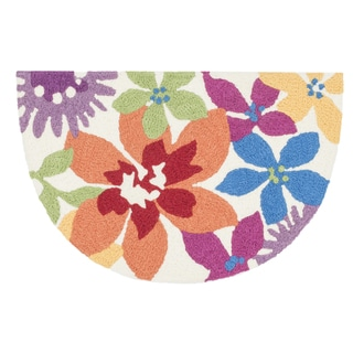 Hand-hooked Marcy Ivory/ Multi Floral Hearth Rug (1'9 x 2'9)