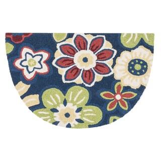 Hand-hooked Marcy Navy/ Multi Blossom Hearth Rug (1'9 x 2'9)