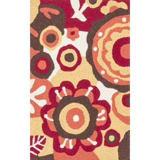 Hand-hooked Marcy Red/ Yellow Blossom Rug (1'9 x 2'9)