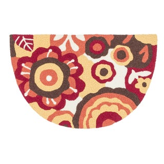 Hand-hooked Marcy Red/ Yellow Blossom Hearth Rug (1'9 x 2'9)
