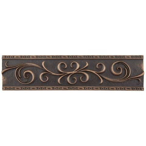SomerTile 3x12-inch Courant Scroll Venetian Bronze Resin Liner Trim Wall Tile (5 tiles)
