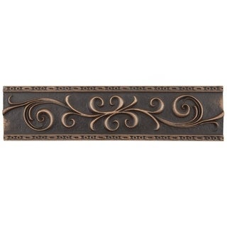 SomerTile 3x12-inch Courant Scroll Venetian Bronze Resin Mixed Material Trim Wall Tile (5 tiles)