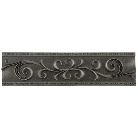 SomerTile 3x12-inch Courant Scroll Wrought Iron Resin Liner Trim Wall Tile (5 tiles)