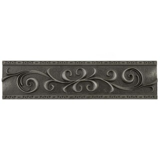SomerTile 3x12-inch Courant Scroll Wrought Iron Mixed Material Liner Trim Wall Tile (5 tiles)