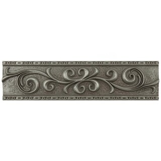 SomerTile 3x12-inch Courant Scroll Pewter Resin Liner Trim Wall Tile (5 tiles)