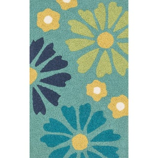 Hand-hooked Marcy Green/ Blue Floral Rug (1'9 x 2'9)