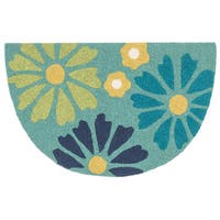 Hand-hooked Marcy Green/ Blue Floral Hearth Rug (1'9 x 2'9)