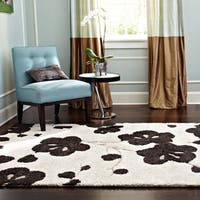 Transitional Ivory/ Brown Floral Square Shag Area Rug - 7'7 x 7'7