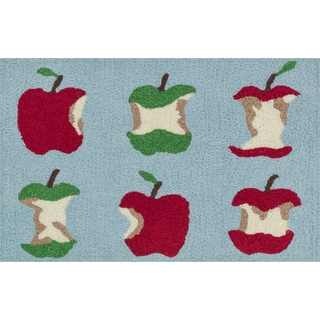 Hand-hooked Marcy Red/ Green Apple Rug (1'9 x 2'9)