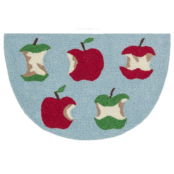 Hand-hooked Marcy Red/ Green Apple Hearth Rug (1'9 x 2'9)