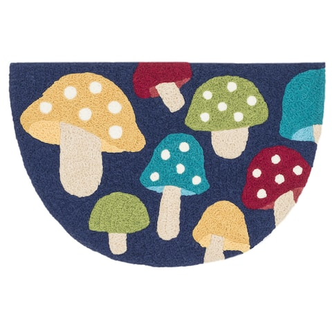 "Alexander Home Hand-Hooked Marcy Multi Mushroom Rug - 1'9"" x 2'9"" Hearth"