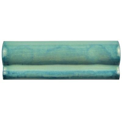 "SomerTile Antic Special Lava Verde 2"" x 6"" Ceramic Moldura Wall Trim Tile"