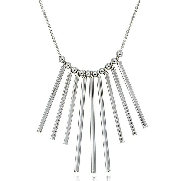 Mondevio Silver Bars Statement Necklace