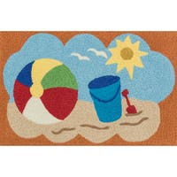 Hand-hooked Marcy Orange/ Multi Beach Rug - 1'9 x 2'9