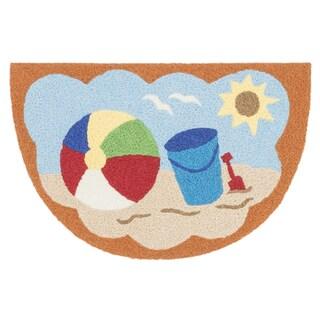 Hand-hooked Marcy Orange/ Multi Beach Hearth Rug (1'9 x 2'9)