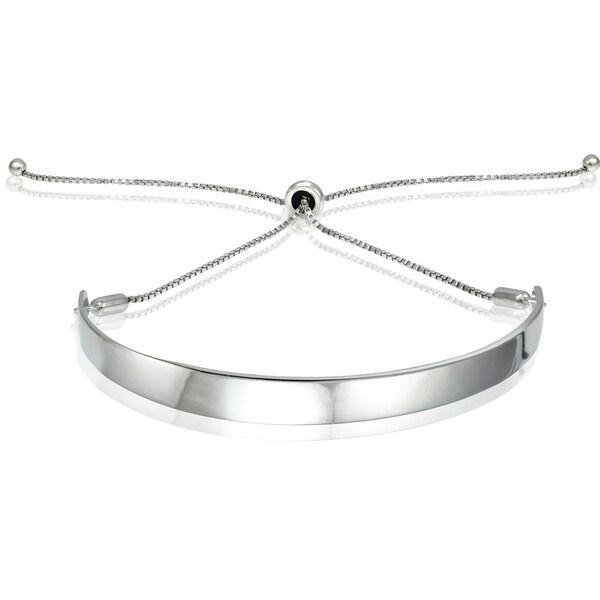 Mondevio Silver Bar Adjustable Slider Bracelet